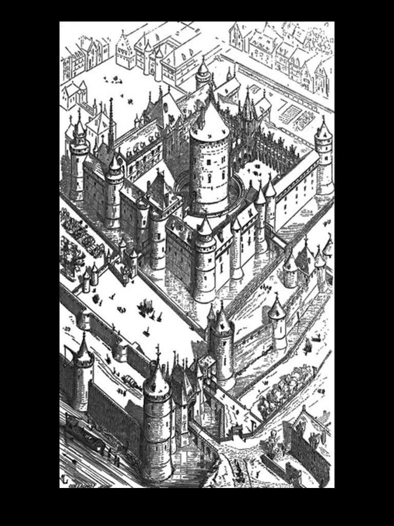 Современная графическая реконструкция общего вида замка-дворца Лувр времен Филиппа II Августа.