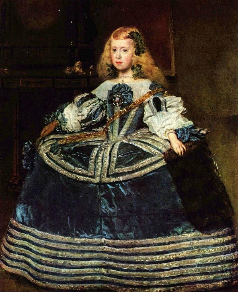 «Портрет инфанты Маргариты в голубом» (с муфтой в руке). 1659. Музей истории искусств, Вена. Инфанте 8 лет.