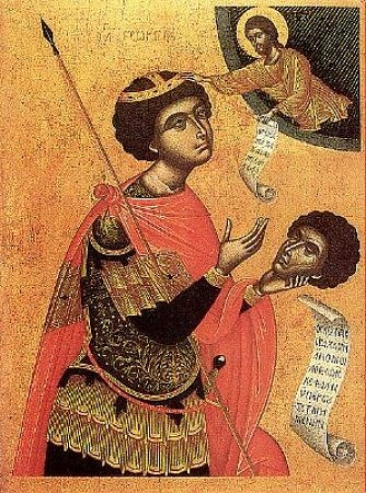 Св. Великомученник Георгий, несущий собственную усекновенную голову, которая велением Господним приставляется к его телу. Греческая икона