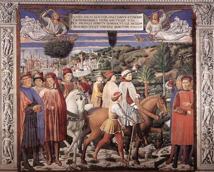Сан-Джиминьяно, церковь Сант-Агостино. Гоццоли Беноццо. Цикл фресок «Жизнь святого Августина» (1464-1465). Святой Августин уезжает в Милан (сцена 7, южная стена).