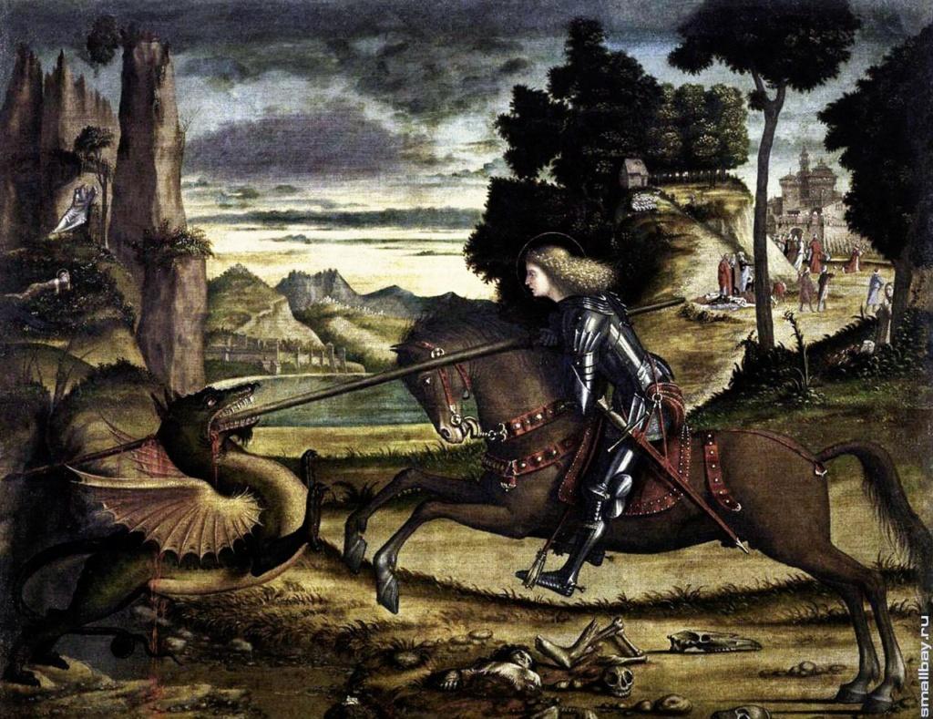 """Витторе Карпаччо. """"Святой Георгий, поражающий дракона"""". 1516. Капелла собора Сан Джорджио Маджоре, Венеция."""