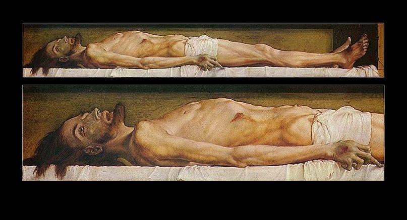 """Ганс Гольбейн Младший. """"Мертвый Христос"""". 1521 - 1522.  Необычен формат картины – 30,5 см х 200 см. Будто целью было изобразить человеческое тело в натуральную величину,  убрав все лишние, отвлекающие детали"""