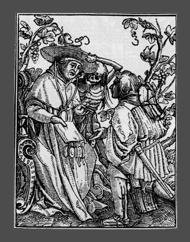 """Ганс Гольбейн Младший. """"Пляска Смерти"""". 1526 год - создание. 1538 - публикация. """"Кардинал и Смерть"""""""