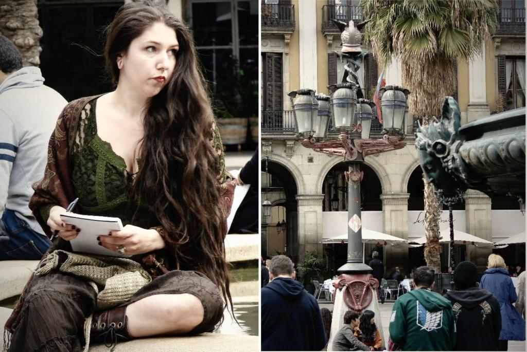 Барселона. Королевская площадь. Прекрасная дева, замершая на бровке фонтанной чаши в непосредственной близости от Гаудианских фонарей.