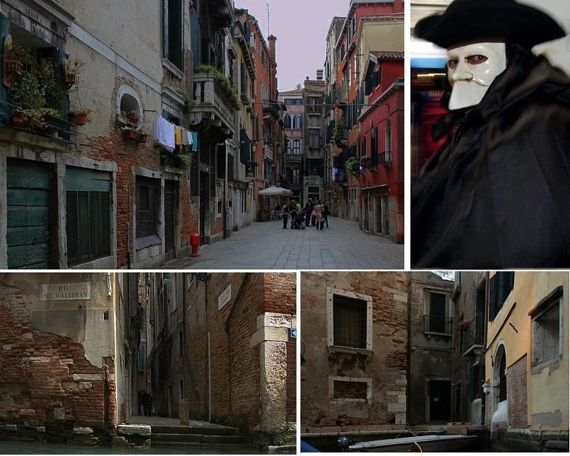"""""""Недра"""" Венеции - улочки-тупики, каналы, зажатые в стенах с обрушивающимися """"румянами""""... Маске в глаза не смотрите: в них прячется ужас лжи, угрозы, дурмана!"""