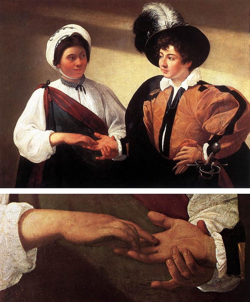 """Караваджо. """"Гадалка"""". 1596 - 1597. Лувр, Париж. Юноша явно неопытен в житейских делах. Выражение лица  и взгляд гадалки — выдают даму опытную и расчетливую. Сюжет взят из реальной жизни, а не вдохновлен Рафаэлем."""