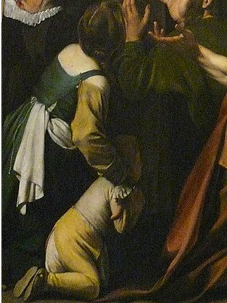 Караваджо. «Мадонна с чётками» (фрагмент). 1607. Вена. Образы нищих - мать с малышом...