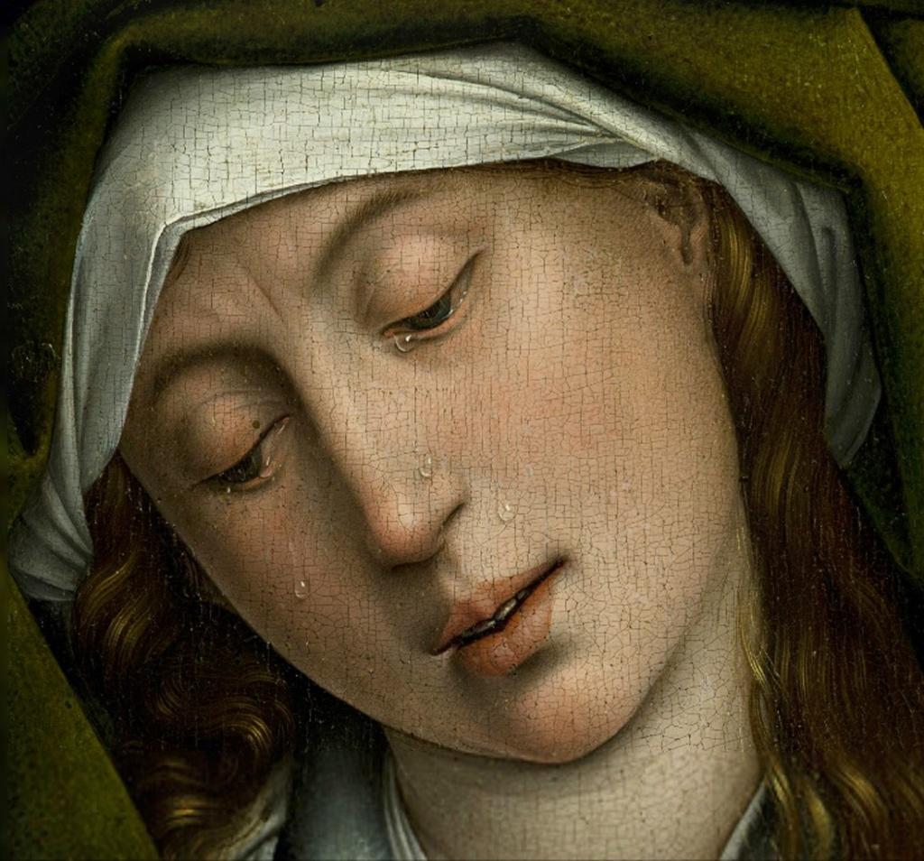 """Рогир ван дер Вейден. """"Снятие с креста""""Ранее 1443, Музей Прадо. Вторая из жен-мироносиц, оставшихся верными Своему Господу и Учителю до конца, стоявшие при Кресте Спасителя, пришедшие помазать ароматами Его Тело. И она плачет..."""