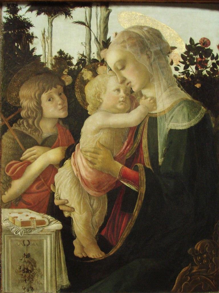 """САНДРО БОТТИЧЕЛЛИ. """"Мадонна с младенцем и со св. Иоанном Крестителем"""". Флоренция, 1445-1510. Поступила в Лувр в 1824 г."""