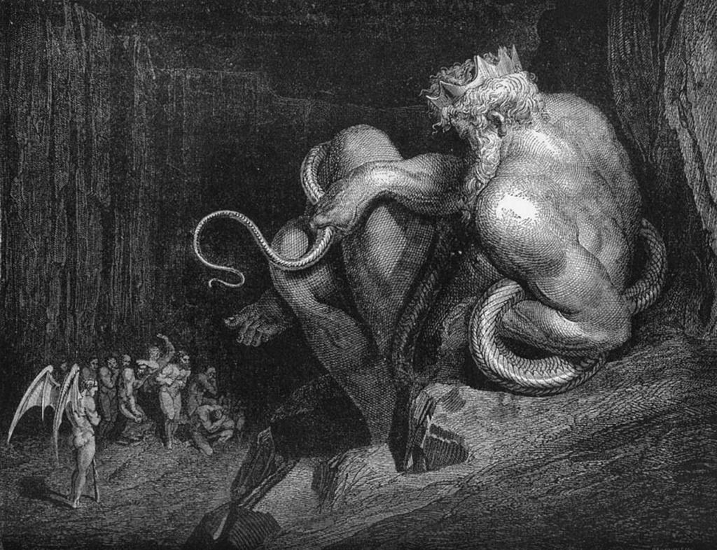 """Гравюры Г. Доре к """"Божественной комедии"""" Данте. (Inferno). 1860-е годы Смотрите: такого Миноса вы увидите только здесь - в Дантовом аду..."""