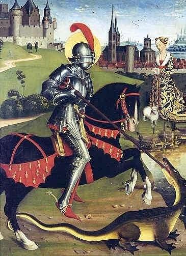 """XV ВЕК. Италия. Флорентийская школа. Паоло Уччелло.  """"Святой Георгий и дракон"""". 1456. Лондон. Национальная галерея"""