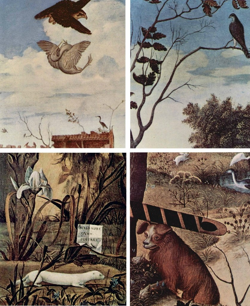 Витторе Карпаччо. «Молодой рыцарь на фоне пейзажа». История утверждает: основная идея картины выражена в подписи-девизе: «Лучше умереть, чем потерять свою честь». Природа имеет символический смысл, соответствующий рыцарским идеалам.