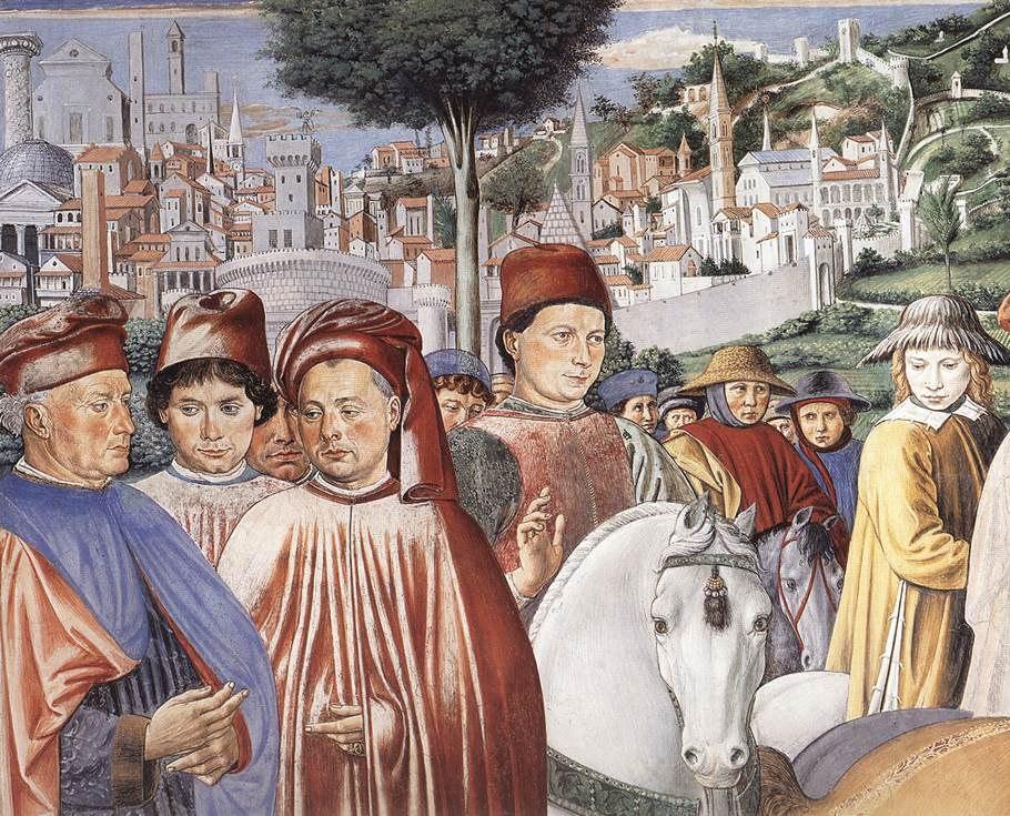 Сан-Джиминьяно, церковь Сант-Агостино. Гоццоли Беноццо. Цикл фресок «Жизнь святого Августина» (1464-1465). Святой Августин уезжает в Милан (сцена 7, южная стена). Фрагмент.