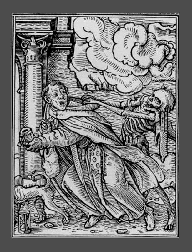 """Ганс Гольбейн Младший. """"Пляска Смерти"""". 1526 год - создание. 1538 - публикация. """"Монах и Смерть"""""""