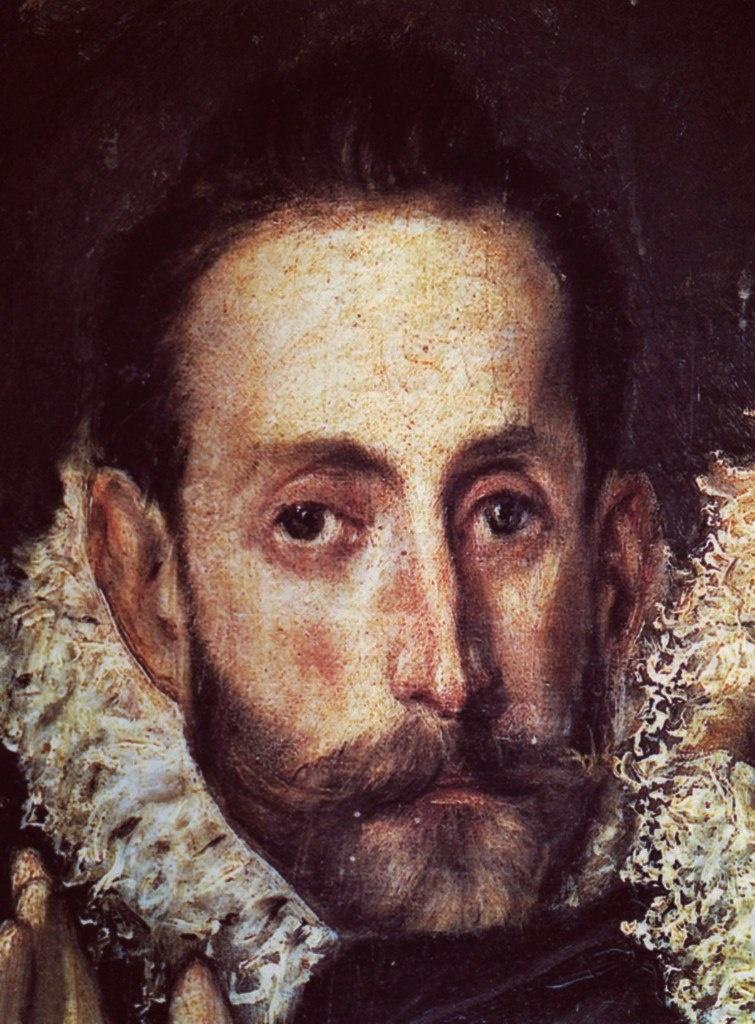 """Эль Греко. «Погребение графа Оргаса». 1586 - 1588 годы. Признано, человек, смотрящий на нас, - автопортрет художника в черном одеянии и """"жабо"""" из гофрированных кружев, как все остальные благородные идальго..."""