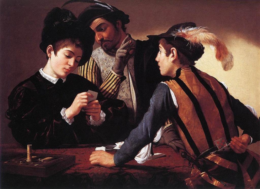 """Караваджо. """"Шулеры"""". 1594. The Kimbell Art Museum, Fort Worth, Texas, USA Друзья, не покладая рук, трудятся - дурят простаков"""