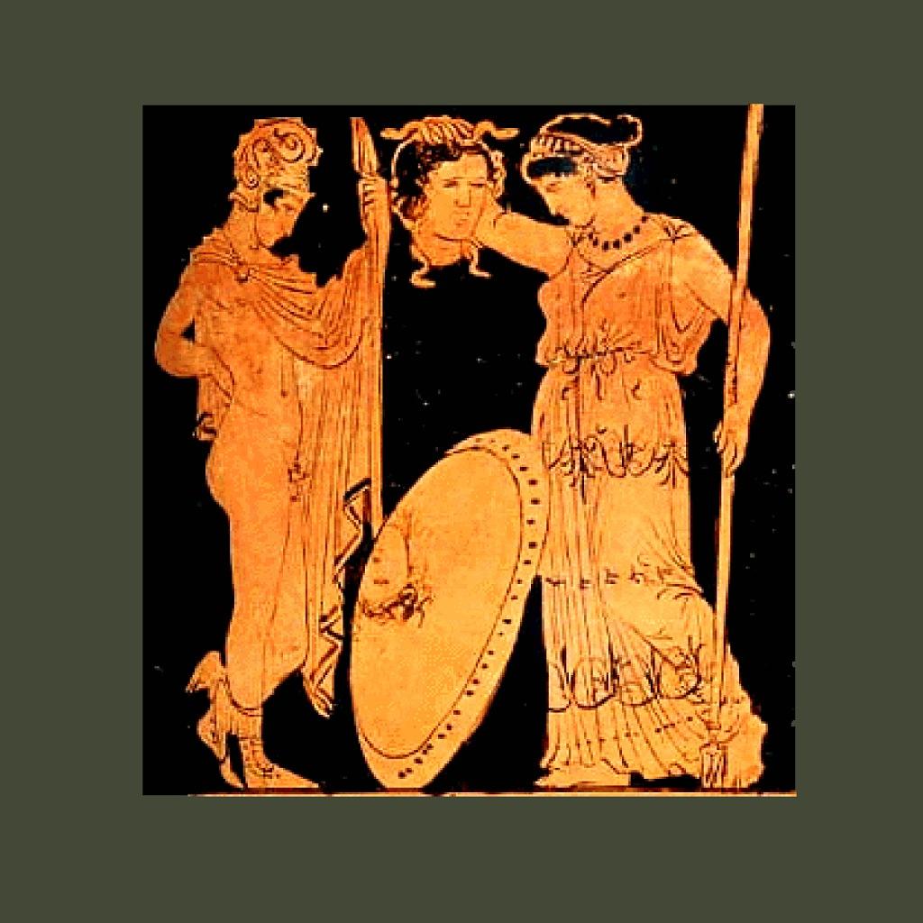 """Античная ваза. """"Персей передает Афине голову Медузы горгоны"""". Богиня и герой смотрят на отражение головы в щите - что зеркале."""