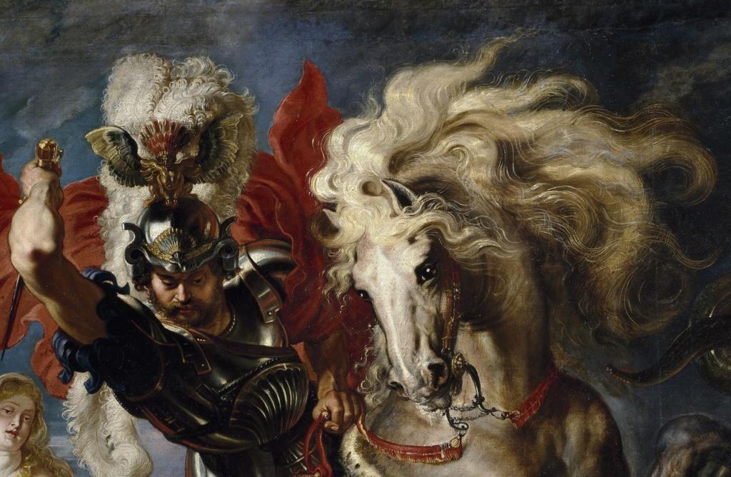 Питер Пауль Рубенс. «Святой Георгий, поражающий дракона». 1606-1607. Прадо, Мадрид. У рубенсовских коней почти человечьи глаза. Почему? Наверное, чтобы передать, что это верный и умный друг и соратник хозяина, боевой товарищ.