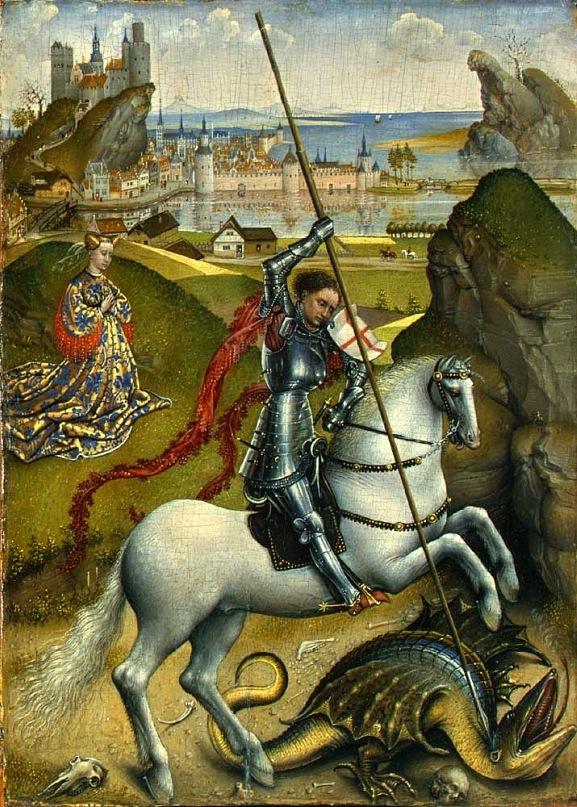 """XV ВЕК. Нидерланды. Рогир Ван дер Вейден.  """"Поединок Св. Георгия с драконом"""". После 1450 года"""