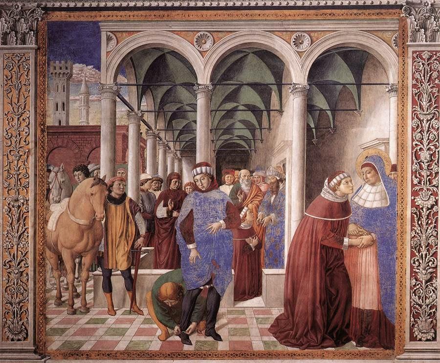 Сан-Джиминьяно, церковь Сант-Агостино. Гоццоли Беноццо. Цикл фресок «Жизнь святого Августина» (1464-1465). Святой Августин приезжает в Милан (сцена 8, северная стена).