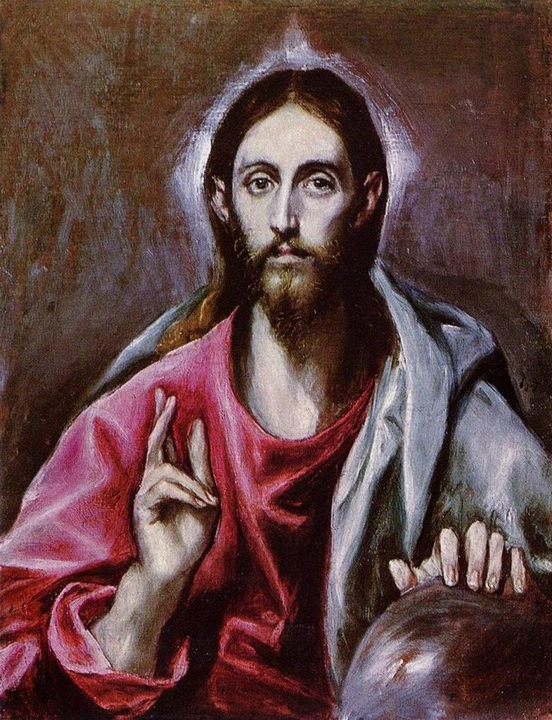 """Толедский собор. Ризница. Эль Греко. «Христос - Вседержитель». Расположен в ризнице слева от """"Эсполио"""""""