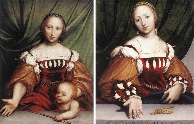 Ганс Гольбейн Младший. Венера и Амур. 1524-1525. Ганс Гольбейн Младший. Лаис из Коринфа. 1526