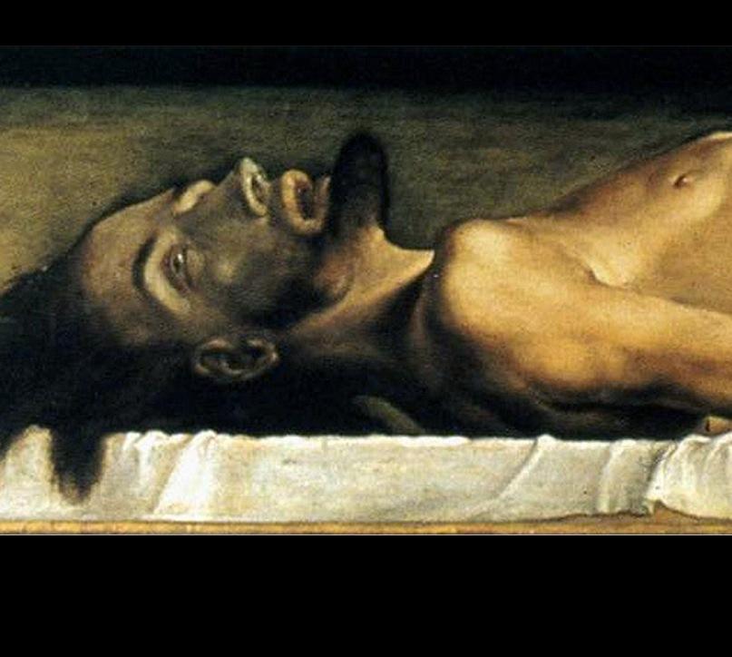 """Ганс Гольбейн Младший. """"Мертвый Христос"""". 1521 - 1522. Художественный музей в Базеле. Фрагмент картины"""
