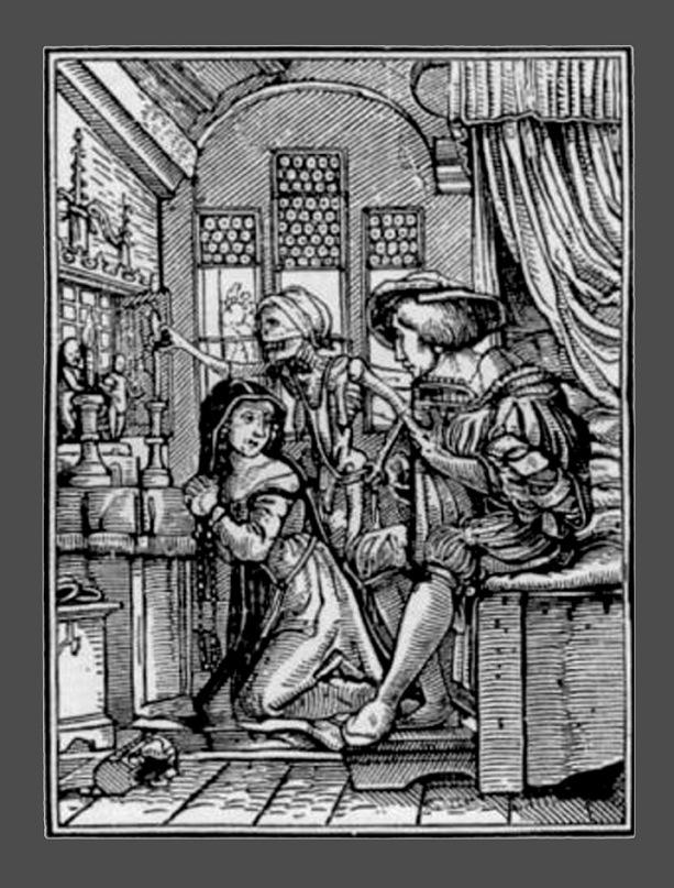 """Ганс Гольбейн Младший. """"Пляска Смерти"""". 1526 год - создание. 1538 - публикация. """"Монахиня"""""""