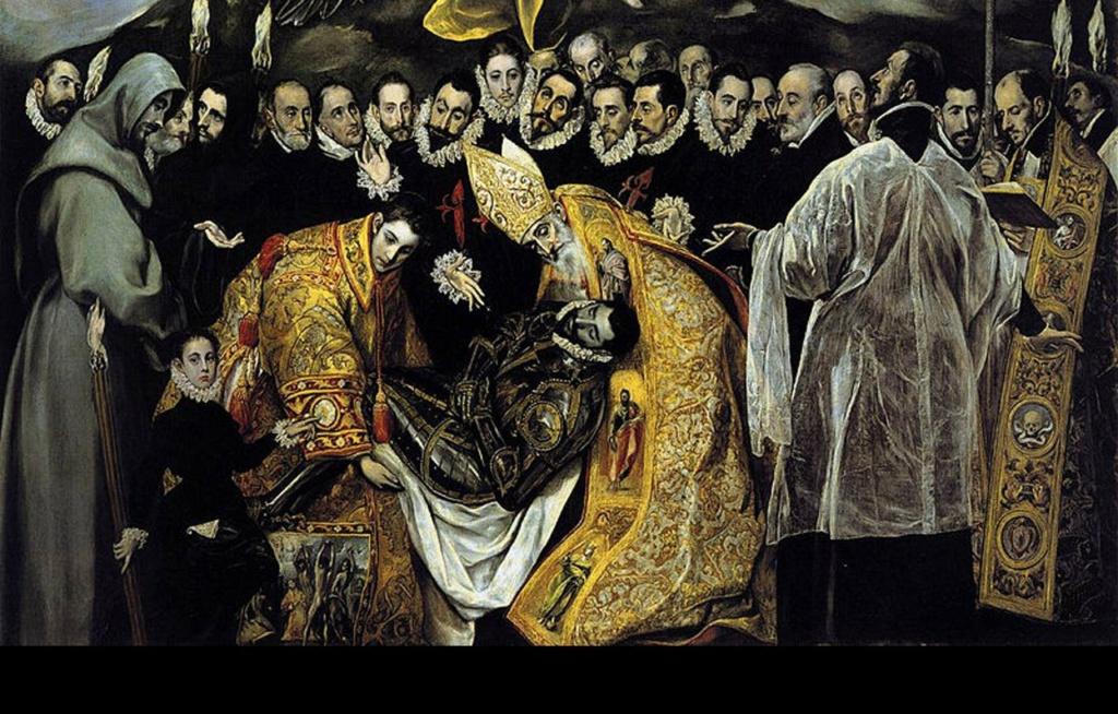 Эль Греко. «Погребение графа Оргаса». 1586 - 1588 годы. Земная сцена погребения. Нет ничего суетного, житейского, обыденного. Изображена священная, мистическая минута предстояния перед смертью с ее непостижимой и вечно волнующей тайной...