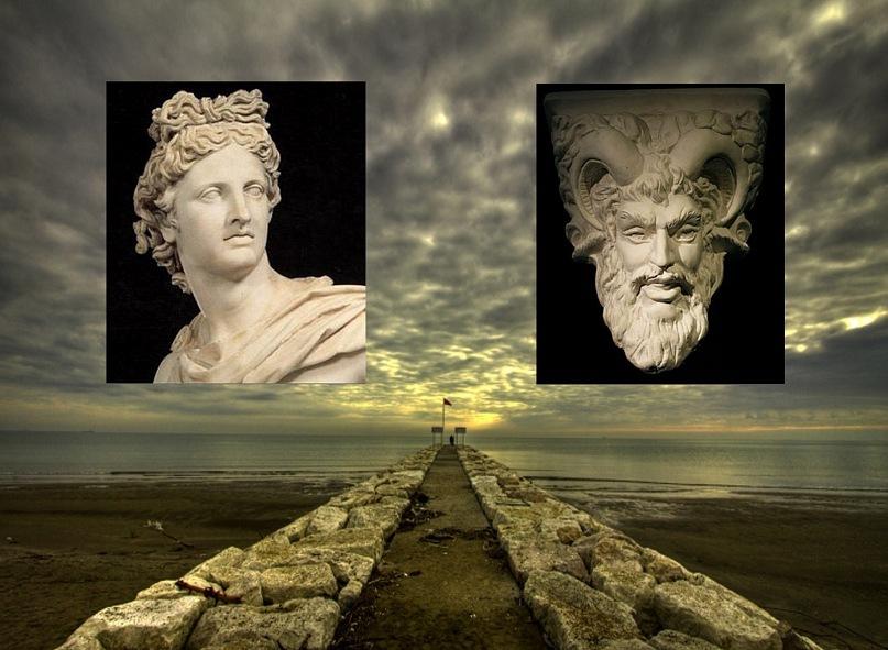 Бюст «Аполлона Бельведерского». Сер. IV в. до н. э.. Маска Диониса (Вакха) эпохи эллинизма.