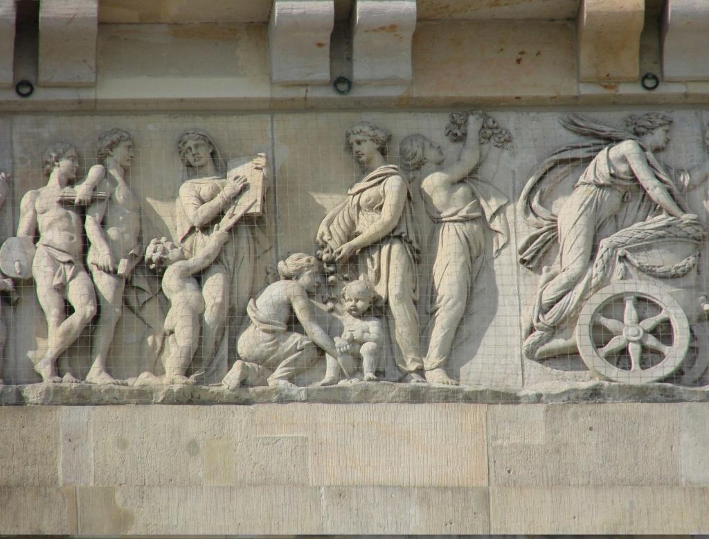 Бранденбургские ворота. Фриз на аттике Пропилеев - центральной (проходной) части Триумфальных ворот.