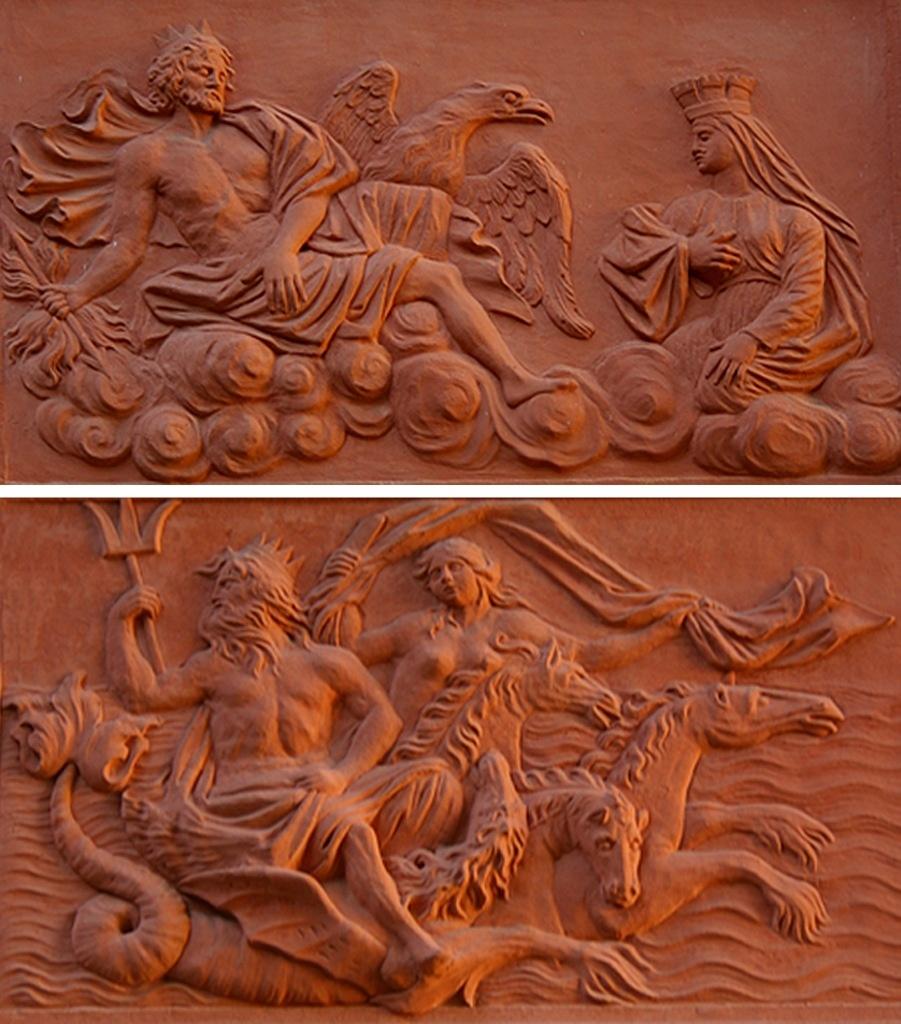 """Петербург. Летний сад. Ле́тний дворе́ц Петра́ I. Межоконные барельефы. """"Зевс и Афина в градской короне"""". Межоконные барельефы. """"Триумф Нептуна и Амфитриты"""""""
