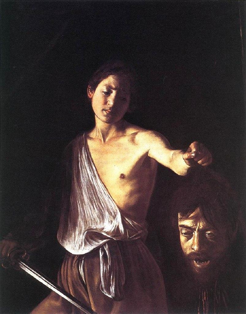"""Караваджо. """"Давид с головой Голиафа"""". Галерея Боргезе в Риме. Юноша Давид смотрит с глубокой грустью на отрезанную голову великана. Похоже, здесь два автопортрета: идеальный и реальный. Картина считается многими последней работой Караваджо"""