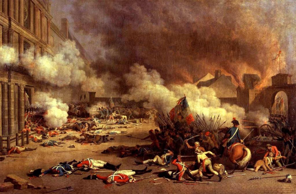 Восстание 10 августа 1792. Штурм Тюильри. 20 тысяч повстанцев (т. н. санкюлотов), сражавшихся с солдатами швейцарской гвардии, пали у Тюильри. Одним из результатов штурма стало отречение Людовика XVI от власти...