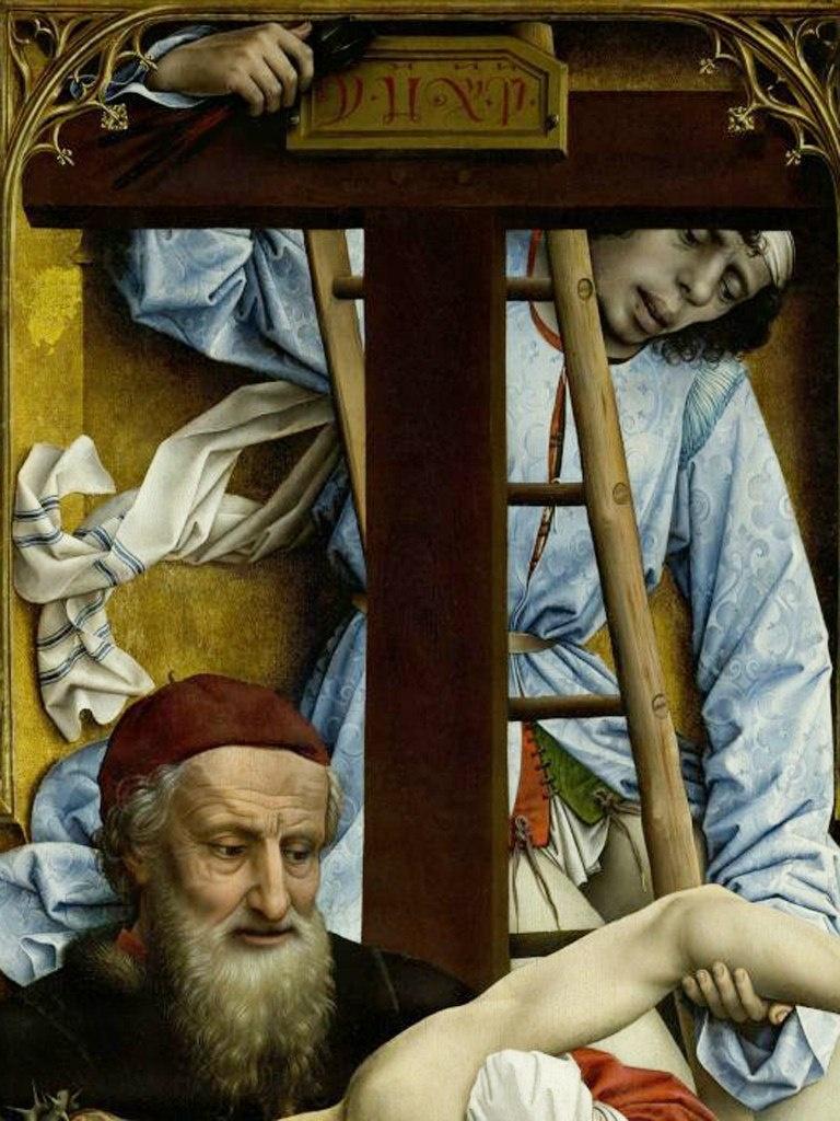 """Рогир ван дер Вейден. """"Снятие с креста""""Ранее 1443, Музей Прадо. На самом верху центральной створки изображен тот, кто непосредственно снимал тело Христа с Креста. Кто он? Безымянен."""