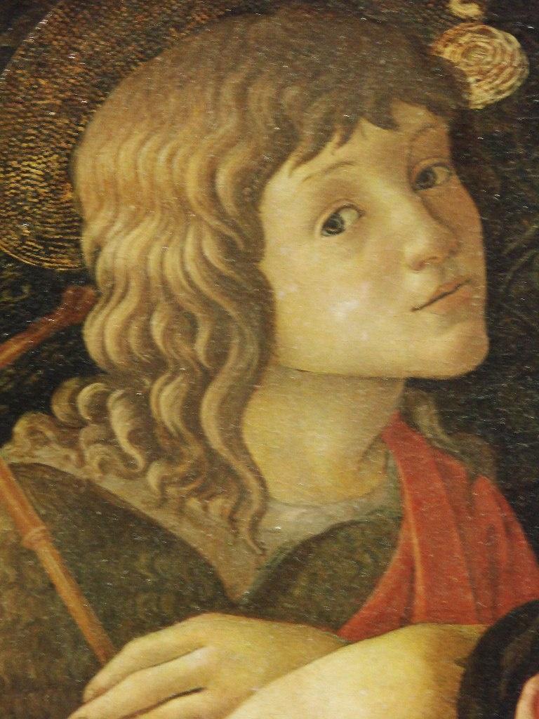 """САНДРО БОТТИЧЕЛЛИ. """"Мадонна с младенцем и со св. Иоанном Крестителем"""". Флоренция, 1445-1510. Поступила в Лувр в 1824 г. Фрагмент - """"Иоанн Креститель""""."""
