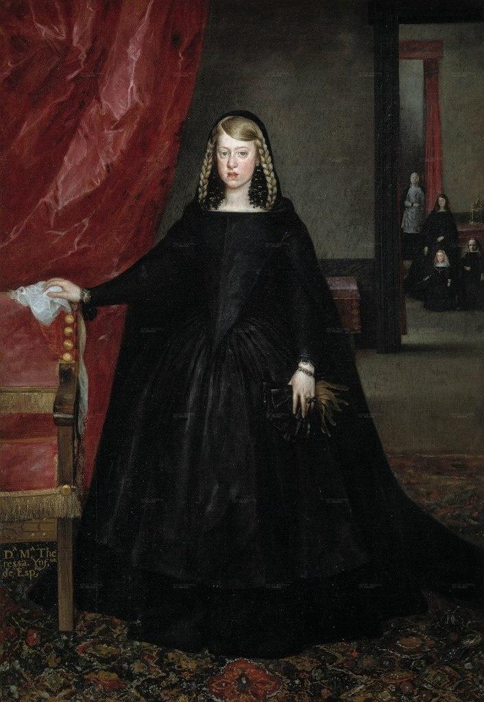 Портрет Маргариты Австрийской (1665 - 1666). Эту картину Веласкес начал в год своей кончины. Завершил ее Хуан Батисто Мазо де Мартинес - зять и ученик Веласкеса занявший после него должность королевского художника .
