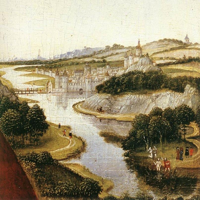 """XV ВЕК. Нидерланды. Рогир Ван дер Вейден. """"Средневековый пейзаж"""". После 1450 года"""