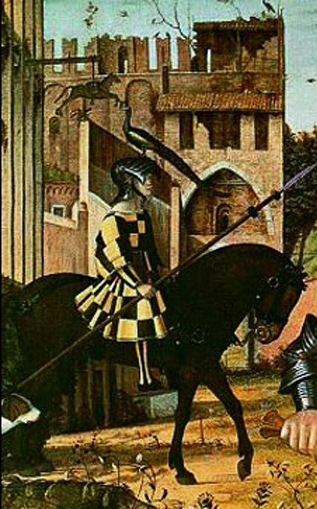 """Витторе Карпаччо. Фрагмент картины «Молодой рыцарь  в своем мире"""", где главная действенная сила - Рыцарская честь."""