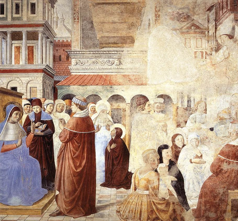 Сан-Джиминьяно, церковь Сант-Агостино. Гоццоли Беноццо. Цикл фресок «Жизнь святого Августина» (1464-1465). Святой Августин у святого Амвросия (сцена 9, северная стена).