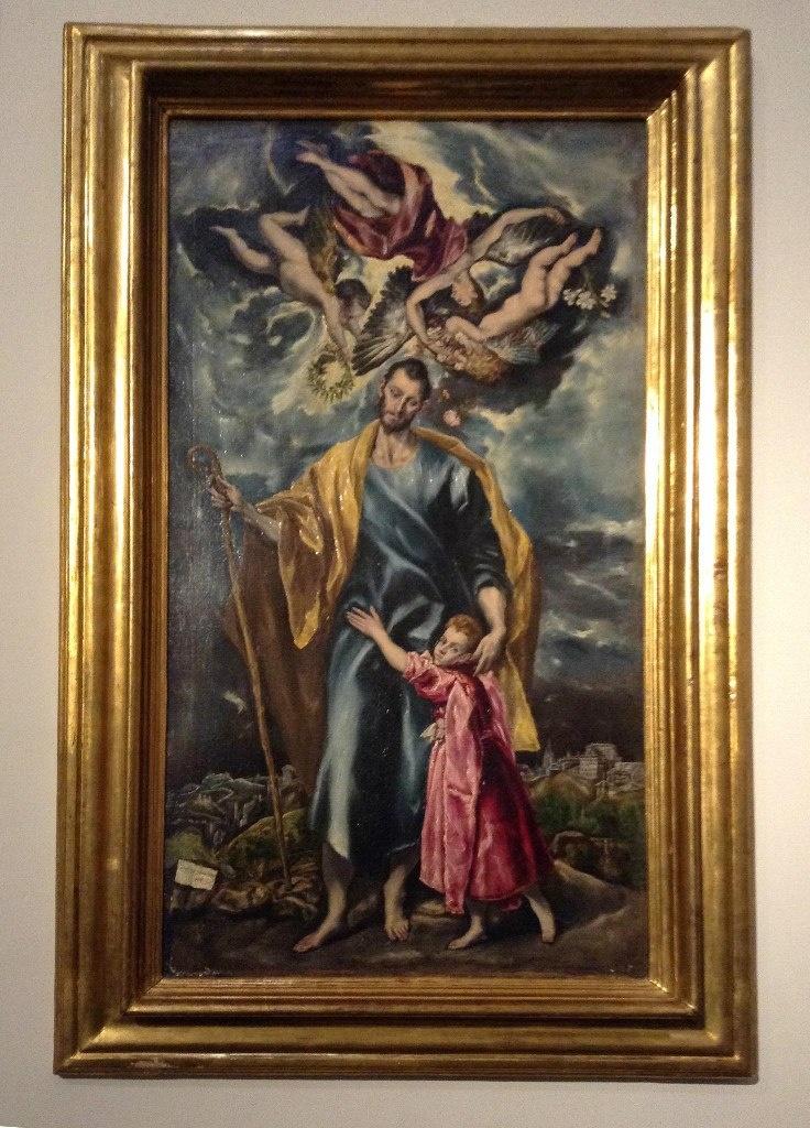 """Толедский собор. Ризница. Эль Греко """"Св. Иосиф и маленький Христос"""" (1599). Над головой Святого - мужа Девы Марии, земного отца Иисуса - хор ангелов, поющих славу."""