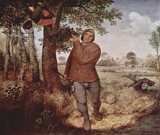 Питер Брейгель Старший. «Разоритель гнезд». 1568. Вена.  Главное место занимает один-единственный персонаж,  изображенный в крупном масштабе… Этот человек идет на зрителя, словно намереваясь «выйти» из картины