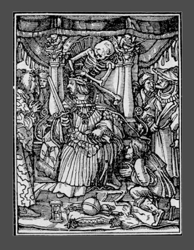 """Ганс Гольбейн Младший. """"Пляска Смерти"""". 1526 год - создание. 1538 - публикация. """"Император"""""""