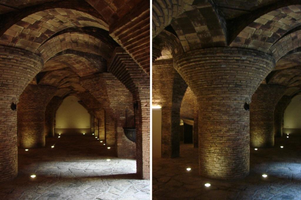 Дворец Гуэля. Подвальный (цокольный) этаж с бывшими конюшнями. Грибовидные колонны и опирающиеся на них арочно-сводчатые покрытия конюшен.