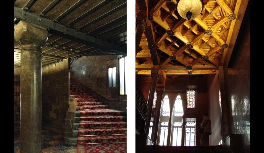 Дворец Гуэля. Боковая Парадная лестница. Слева - на уровне Антресольного этажа. Справа - на уровне Бельэтажа.