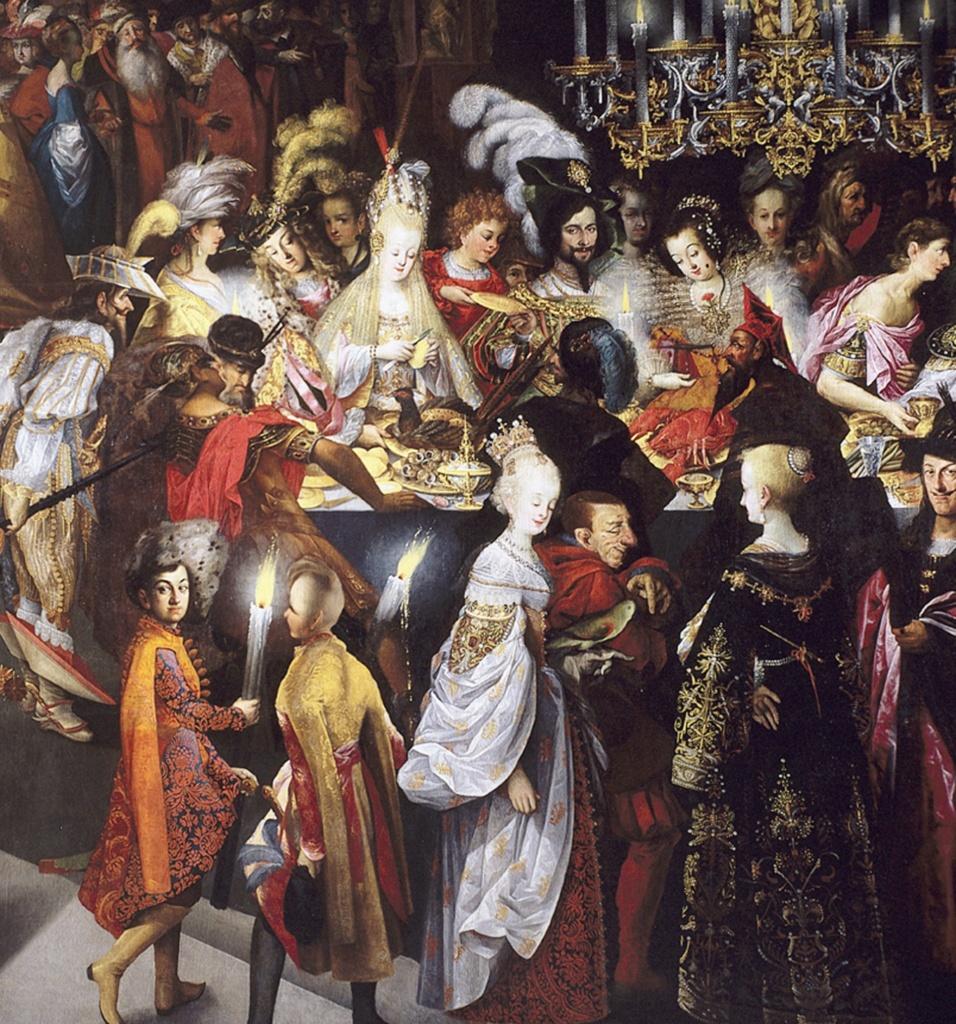 """Стробель Бартоломеус II. """"Усекновение главы св. Иоанна Крестителя и пир Ирода"""". Третий фрагмент картины.. Для тех, кого интересует история европейской моды, картина представляет особый интерес."""