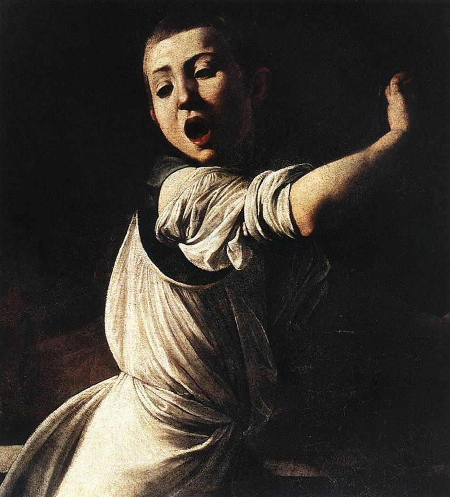 """Караваджо. """"Мученичество апостола Матфея"""". 1599-1600. Фрагмент: убегающий мальчик-служка..."""