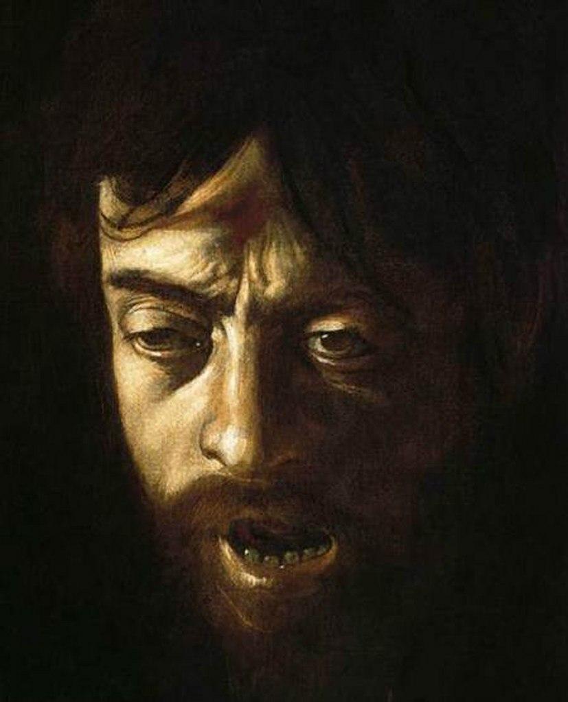 Караваджо. «Давид с головой Голиафа». Фрагмент.. Это - страшный автопортрет, на лице отражены все грехи человеческие и смертная мука — то ли от только что пережитой казни, то ли от раскаяния. Он кричит? Нет, раздается ЗВЕРОПОДОБНЫЙ ХРИП.