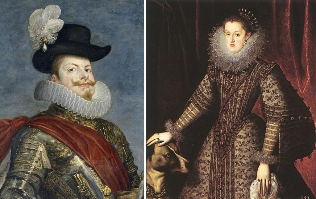 Король Филипп III и его супруга Маргарита Австрийская из второй ветви Габсбургов, выделенной Филиппом II..