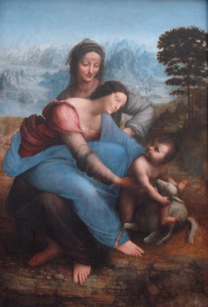 """ЛЕОНАРДО ДА ВИНЧИ. """"Анна, Мария и младенец Иисус"""". Около 1510 года. Лувр. Не упустите легкую улыбку св. Анны, которая едва сдерживает ликование при виде своего земного потомства, которому предстоит стать небесным..."""
